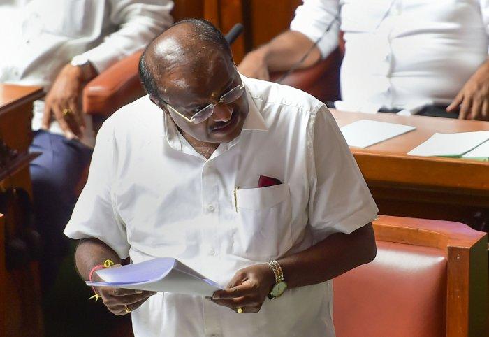 Karnataka Chief Minister H D Kumaraswamy speaks during assembly session at Vidhana Soudha in Bengaluru. (PTI Photo)