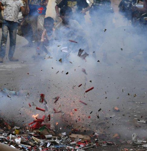 Firecracker bursting during Diwali (DH Photo)