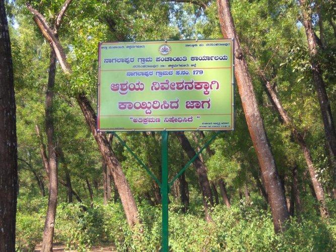 Land earmarked for poor siteless beneficiaries at Nagalapura Gram Panchayat jurisdiction in N R Pura taluk.