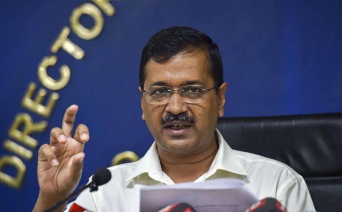 Delhi Chief Minister Arvind Kejriwal addresses a press conference at Delhi Secretariat, in New Delhi, Monday. (PTI Photo)