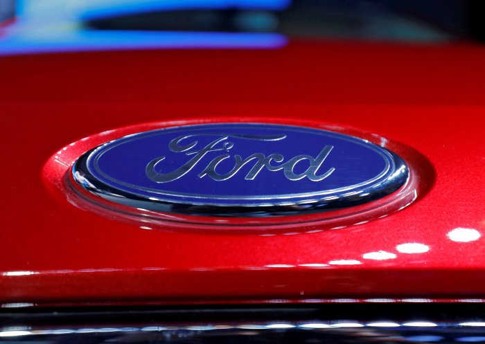 The logo is seen on the bonnet of a new Ford Aspire car during its launch in New Delhi, India. (Reuters Photo)