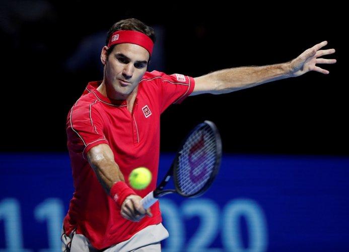 Switzerland's Roger Federer in action during the final against Australia's Alex de Minaur. (Reuters Photo)