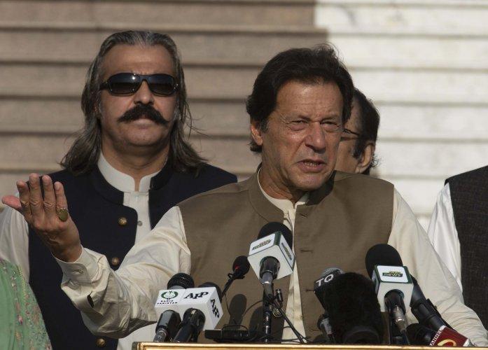 Pakistani Prime Minister Imran Khan addresses a Kashmir rally in Islamabad, Pakistan. (PTI Photo)