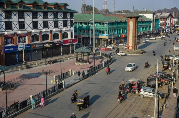 A view of Lal Chowk during restrictions in Srinagar. PTI Photo