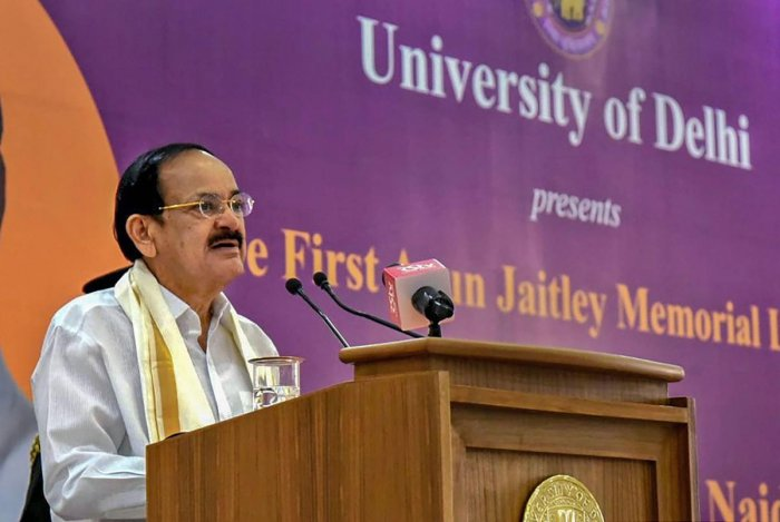 Vice President Venkaiah Naidu speaks during the 'First Arun Jaitley Memorial Lecture' organised by Delhi University in New Delhi, Tuesday, Oct. 29, 2019. (Twitter/PTI Photo)