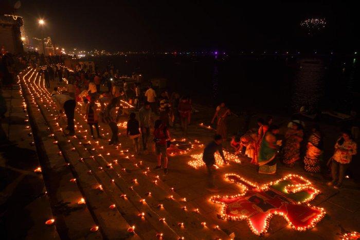 The decked-up ghats of Varanasi for Dev Deepavali
