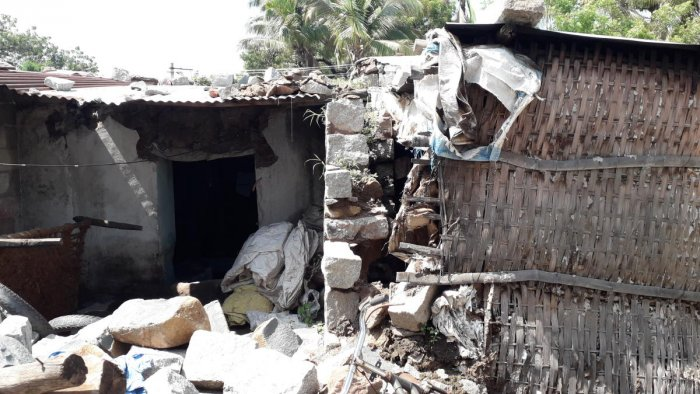 The debris of the house which collapsed killing a two-year-old boy in Karatagi of Koppal district late on Sunday night. DH PHOTO