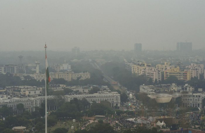 An aerial view of Connaught Place shrouded in heavy haze post-Diwali celebrations, in New Delhi. (PTI Photo)