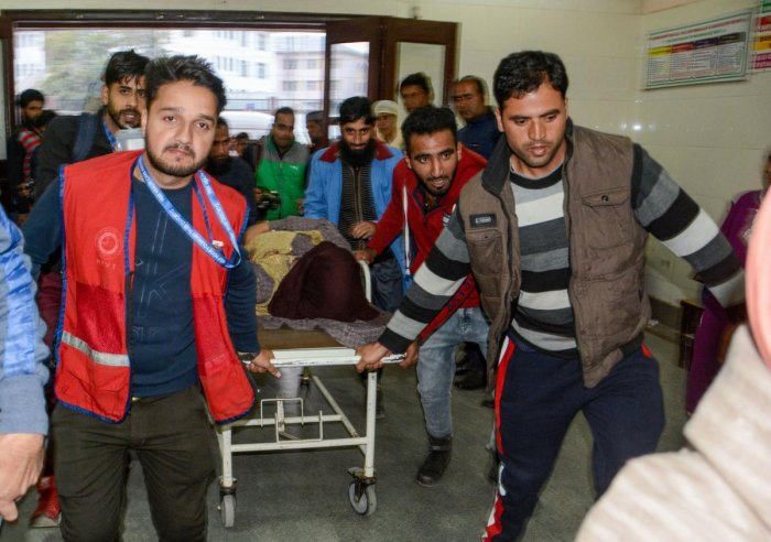 An injured civilian (PTI File Photo)
