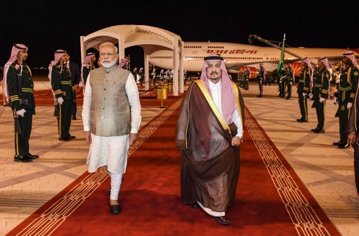 Prime Minister Narendra Modi on his arrival in Riyadh, Saudi Arabia. (PIB/PTI Photo)