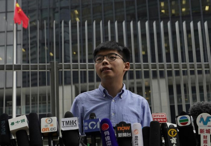 Pro-democracy activist Joshua Wong speaks during a press conference in Hong Kong on Tuesday. (AP/PTI)