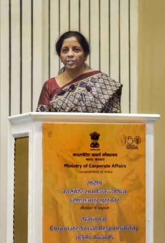Union Finance Minister Nirmala Sitharaman addresses the National Corporate Social Responsibility Awards function in New Delhi on Tuesday. (PTI Photo)