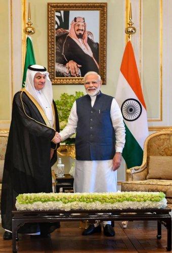 Prime Minister Narendra Modi with Saudi Arabia's Minister of Environment, Water and Agriculture Abdulrahman bin Abdulmohsen Al Fadley (PTI Photo)