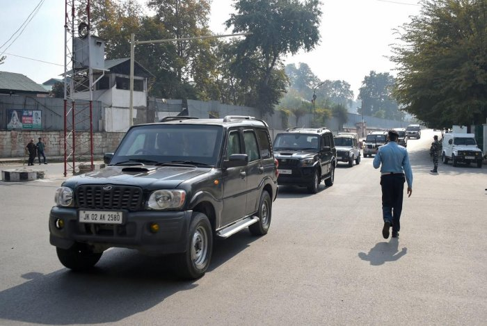The motorcade of European Union Parliamentary delegation arrives in Srinagar, Tuesday, Oct. 29, 2019. (PTI Photo)