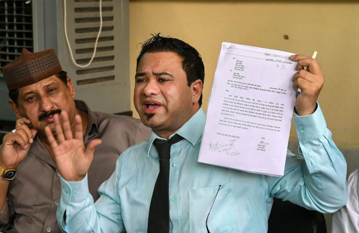 Kafeel Khan, suspended doctor of BRD Medical College Gorakhpur, Uttar Pradesh, addresses a press conference in Bhopal, Tuesday, Oct 29, 2019. (PTI Photo)