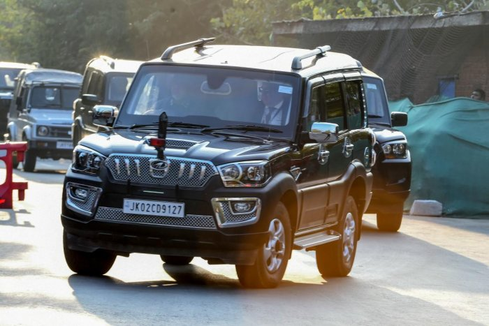 Members of a European lawmakers delegation are being transported towards a hotel during a lockdown in Srinagar on October 29, 2019. (AFP)