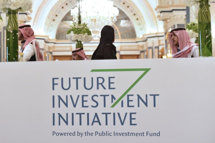 Local staff and delegates are pictured at the King Abdulazziz Conference Centre in Saudi Arabia's capital Riyadh to attend the Future Investment Initiative (FII) forum on October 29, 2019. ( AFP)