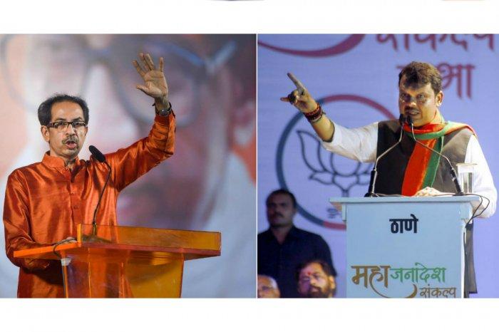 Shiv Sena Chief Uddhav Thackeray (L) and BJP's Devendra Fadnavis (R) (PTI Photos)