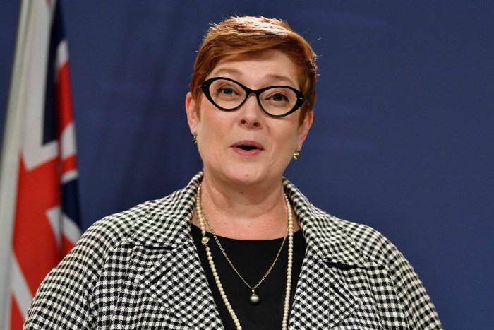 Australia's foreign minister Marise Payne attends joint press conference with New Zealand counterpart Winston Peters in Sydney. (AFP Photo)