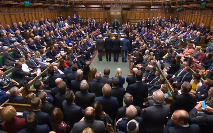 British Prime Minister Boris Johnson's December 12 election plan has cleared the House of Commons after MPs backed the date in a vote by a 438 to 20 margin. (AFP Photo)