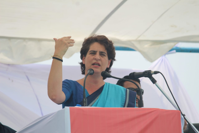 """Party general secretary Priyanka Gandhi Vadra said that while farmers and unemployed youth did not have the facility of meeting the prime minister and airing their grievances, """"international business brokers"""" like Sharma were giving assurance that the visit would be sponsored. Photo/Facebook (Priyanka Gandhi Vadra)"""