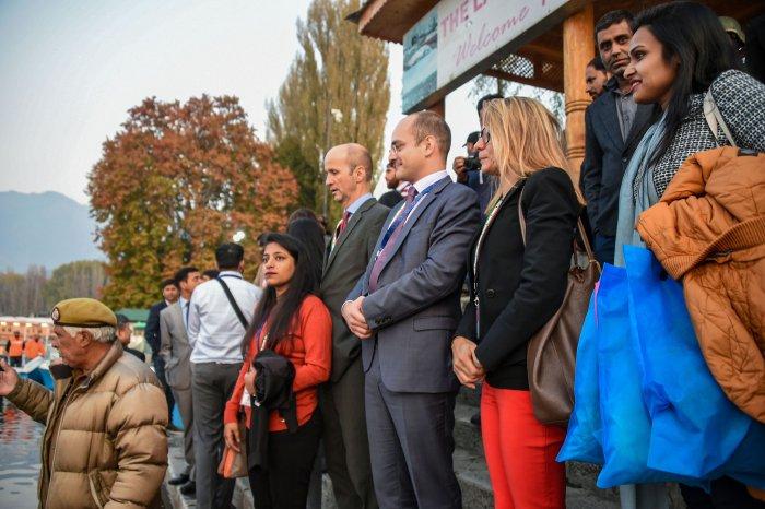 Members of European Union Parliamentary delegation board a shikara ride at Dal Lake in Srinagar. (PTI Photo)