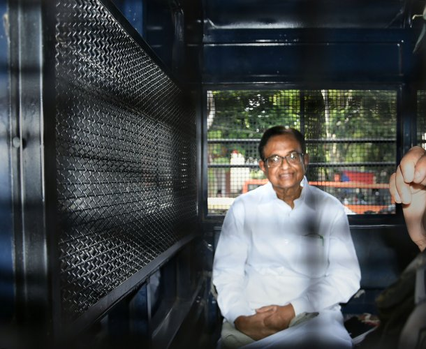 Former finance minister P Chidambaram being taken to Tihar jail from Rouse Avenue Court, in New Delhi. (PTI Photo)