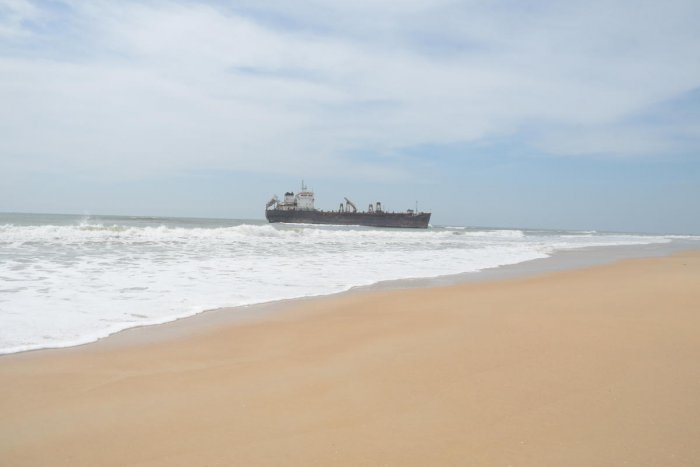 The dredger Bhagavati Prem that was beached near Surathkal Light House on Monday.