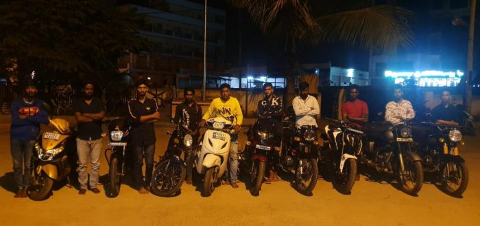 The youths arrested for performing stunts with their bikes.