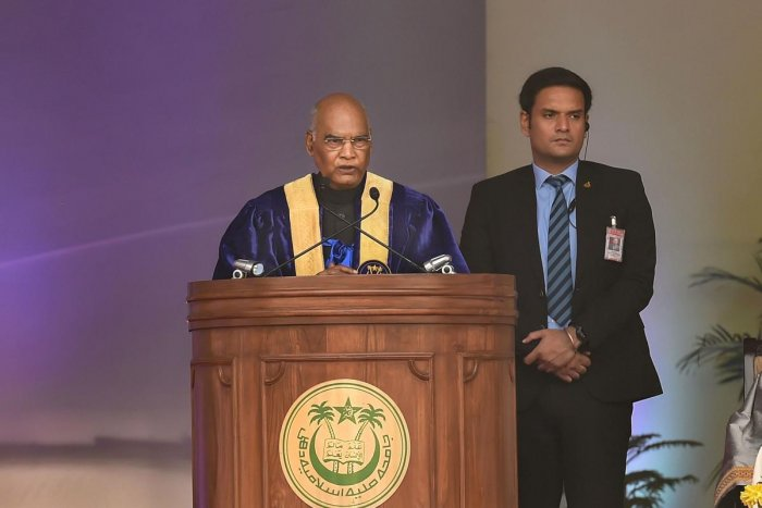 President Ram Nath Kovind addresses during Jamia Millia Islamia's (JMI) Annual Convocation 2019, in New Delhi. PTI