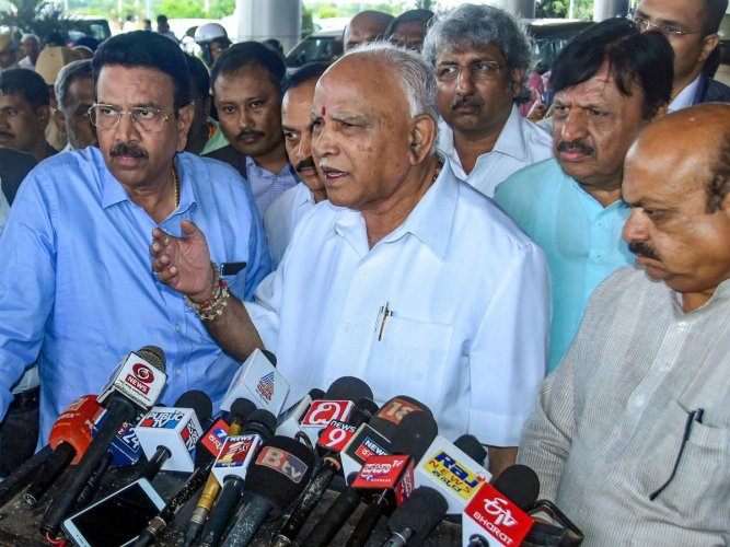 """""""...I will try to convince him (Speaker), and make honest efforts to rectify things that you (media) had faced, during the next session,"""" Yediyurappa said in response to a question about """"restrictions"""" on media after the BJP government led by him came to power. Photo/PTI"""