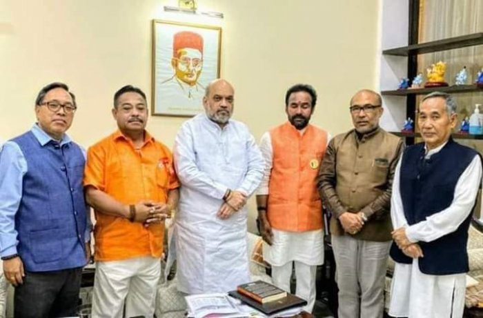 All party delegation in Manipur with home minister Amit Shah in New Delhi on Wednesday. (DH photo)
