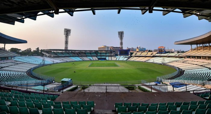 Preparations underway at the Eden Garden to host the upcoming India-Bangladesh maiden day-night cricket Test match, in Kolkata, Wednesday, Oct. 30, 2019. (PTI Photo/Swapan Mahapatra)
