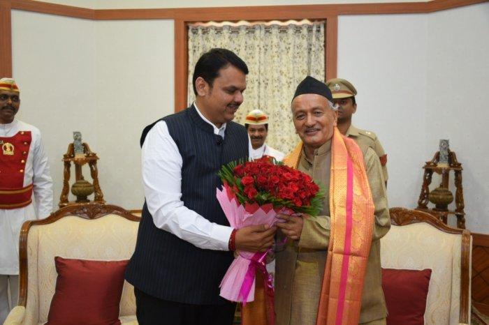 Maharashtra Chief Minister Devendra Fadnavis and Governor Bhagat Singh Koshyari. (DH Photo)