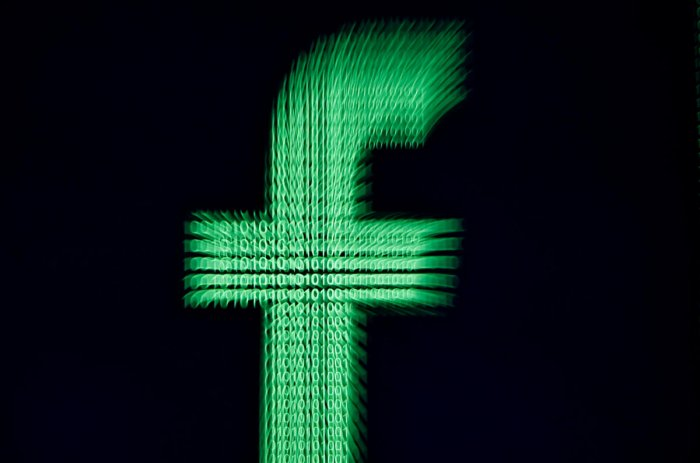 A 3D-printed Facebook logo (Photo by Reuters)