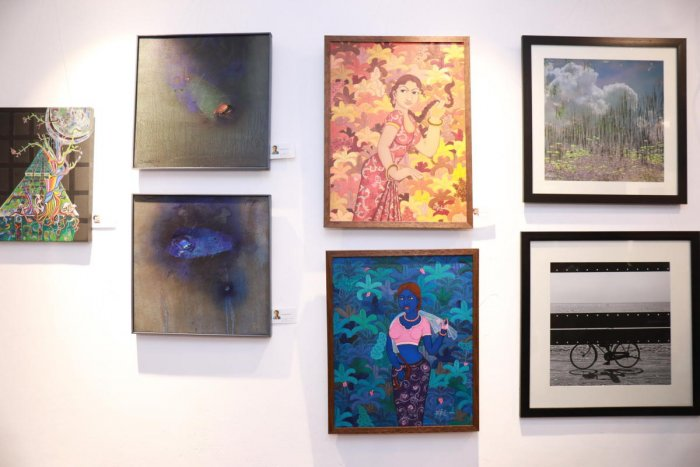 Works of artists displayed at the S Cube Art Gallery in Mangaluru.