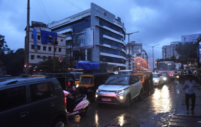 Heavy rains and stagnant water choked the flow of traffic on most arterial roads as in Hampankatta in Mangaluru on Thursday.
