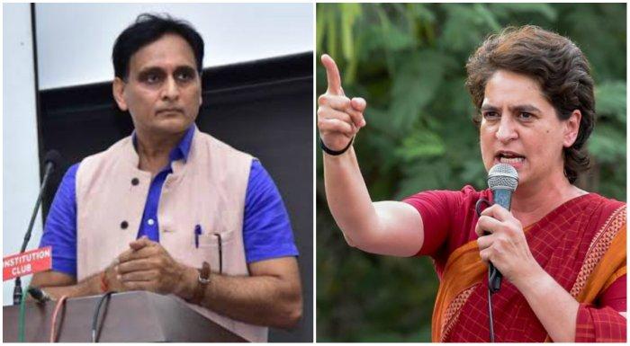 BJP MP Rakesh Sinha(L) and Congress General Secretary Priyanka Gandhi Vadra (R)
