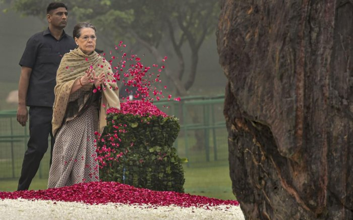Congress President Sonia Gandhi pays floral tribute to former prime minister Indira Gandhi on her death anniversary at Shakti Sthal. PTI