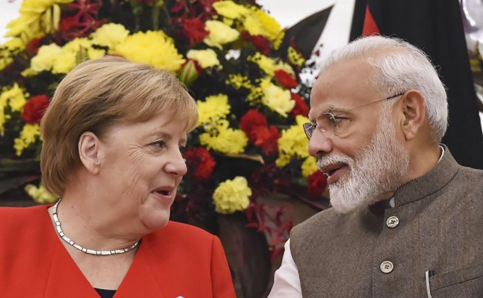 Prime Minister Narendra Modi and German chancellor Angela Merkel during their joint press conference at Hyderabad House in New Delhi, Friday, Nov. 1, 2019. (PTI Photo/Atul Yadav)