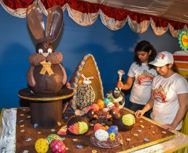 Chocolate Easter Egg cake made by Institute of Baking and Cake Art student at Annual Cake Show at St Josephs Indian High School grounds in Bengaluru on Thursday, Cake show starts on 14th December to 1 January. Photo by S K Dinesh