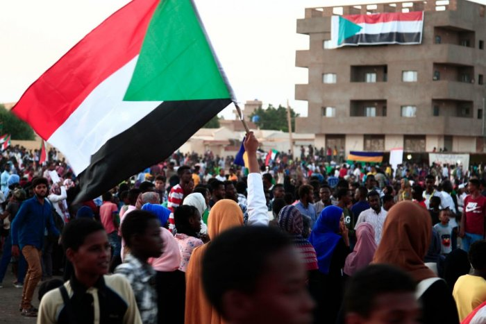 Sudanese demonstrators march during a protest in Bahri. (Photo AFP)