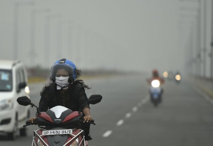 The skies over Delhi NCR continue to be smoky grey. (PTI Photo)