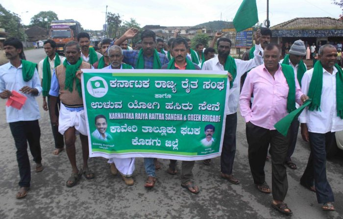 Farmer associations stage a protest against Regional Comprehensive Economic Partnership (RCEP), in Madikeri on Thursday.