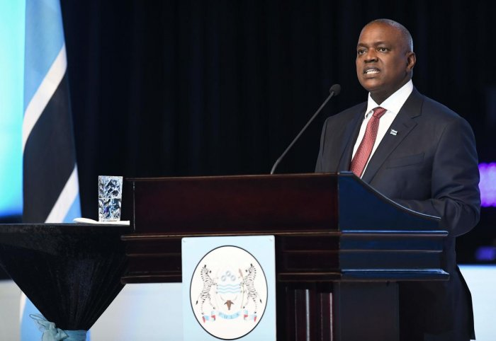The President of Botswana, Mokgweetsi Masisi, delivers his speech after being sworn in as the 5th President of the country in Gaborone. AFP
