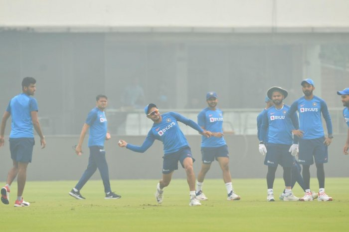 India's Manish Pandey (C) throws a ball during a practice session at Arun Jaitley Cricket Stadium in New Delhi (PTI Photo)