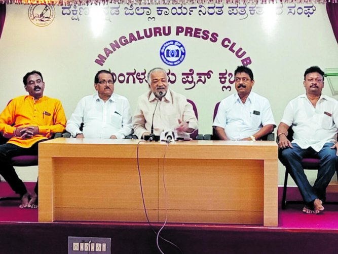 Former MLA Vijay Kumar Shetty speaks to reporters in Mangaluru on Friday.