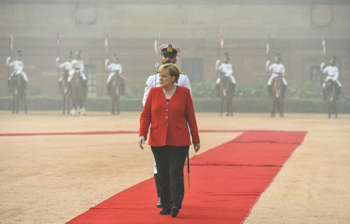 """Merkel said that Germany would spend one billion euros on """"green"""" urban transport projects in India over the next five years, including 200 million euros to replace diesel buses in Tamil Nadu state. Photo/PTI"""