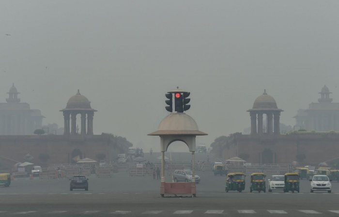 . Pollution levels in Delhi and neighbouring cities dropped marginally on Saturday (PTI Photo)