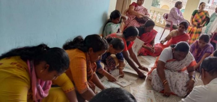 Women during a paper bag and cover-making training programme, organised by Rotary Vanivilasa Mysuru in Mysuru, recently. Photo by special arrangement